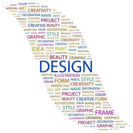 DESIGN. Word collage on white background.  illustration.   Vector