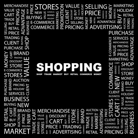 online trading: SHOPPING. Word collage on black background. illustration.