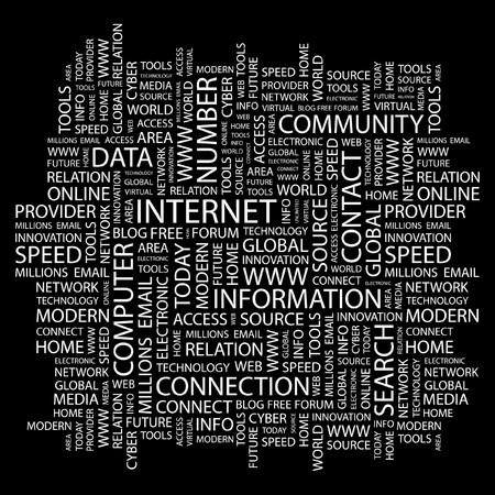 millions: INTERNET. Word collage on black background.   illustration.    Illustration