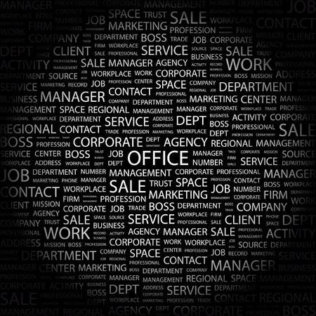 OFFICE. Word collage on black background. illustration. Stock Vector - 7341338
