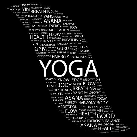 healthiness: YOGA. Palabra collage sobre fondo negro. ilustraci�n.