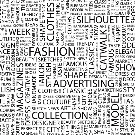 designer clothes: FASHION. Seamless  background. Word cloud illustration.   Illustration