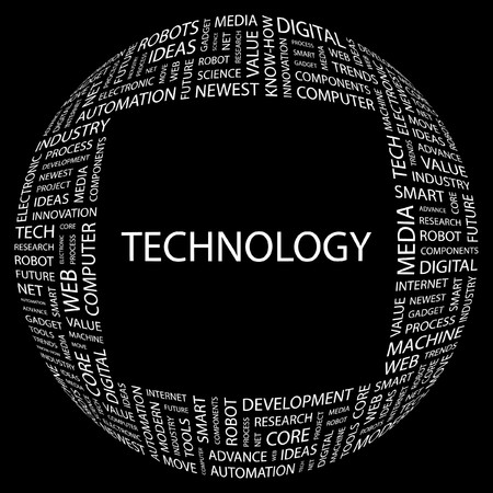 TECHNOLOGY. Word collage on black background  illustration. Stock Vector - 7339923