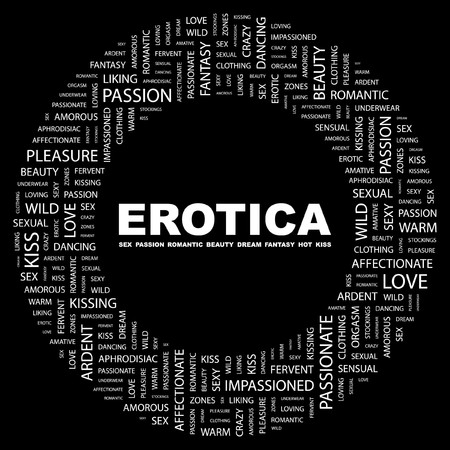 EROTICA. Word collage on black background.  illustration. Stock Vector - 7339930