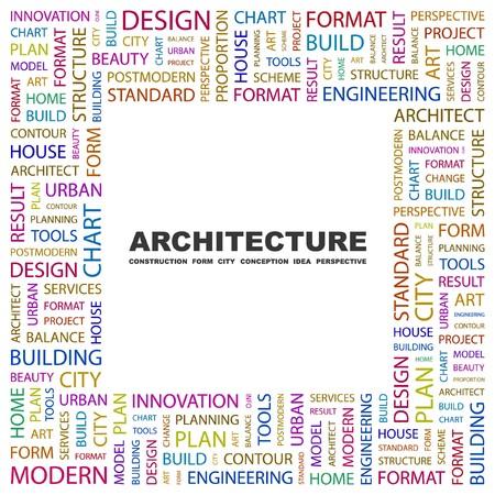 systematization: ARCHITECTURE. Word collage on white background. illustration.    Illustration