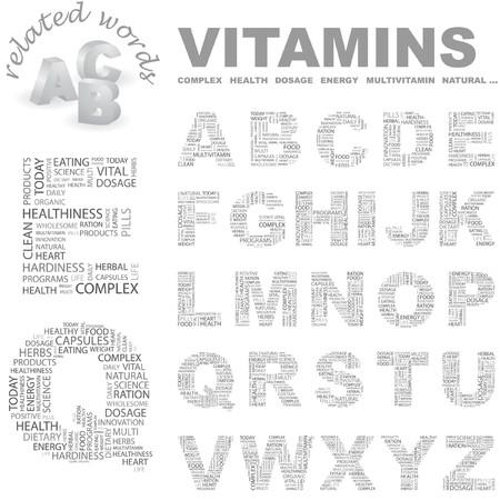 healthiness: VITAMINAS. colecci�n de la Carta. Ilustraci�n de la nube de Word.  Vectores