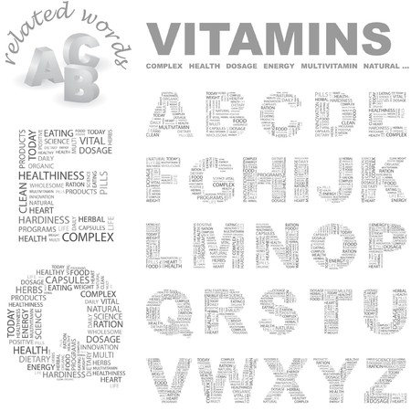 salubrity: VITAMINS.  letter collection. Word cloud illustration.   Illustration