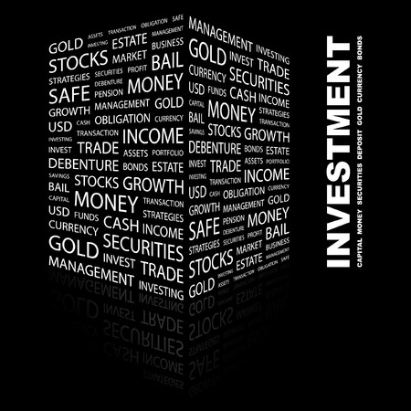 INVESTMENT. Word collage on black background.   illustration.    Vector