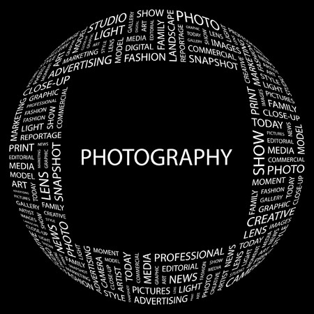 PHOTOGRAPHY. Word collage on black background  illustration.    Vector