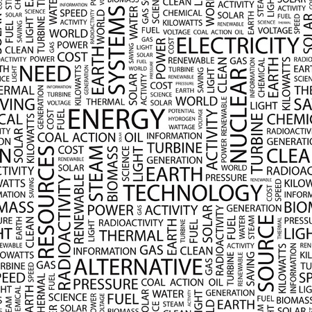renewables: ENERGY. Seamless   pattern with word cloud.