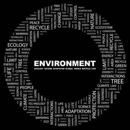 ENVIRONMENT. Word collage on black background illustration.    Stock Vector - 7339749