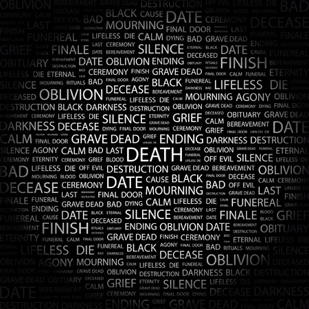 decease: DEATH. Word collage on black background.  illustration.    Illustration