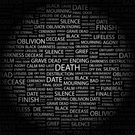 wort collage: TOD. Wort Collage auf schwarzem Hintergrund. Abbildung.