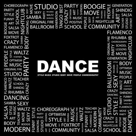more information: DANCE. Word collage on black background.   illustration.    Illustration