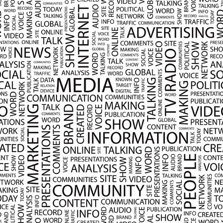 created: MEDIA. Seamless   background. Word cloud illustration.
