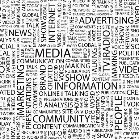 accessing: MEDIOS DE COMUNICACI�N. Fondo transparente. Ilustraci�n de la nube de Word.