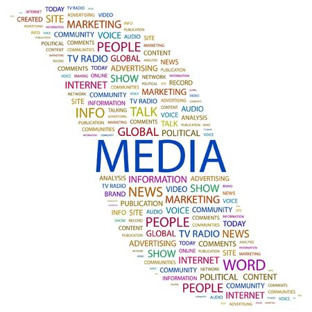 keywords background: MEDIA. Word collage on white background. illustration.