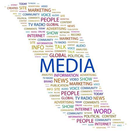 accessing: MEDIOS DE COMUNICACI�N. Palabra collage sobre fondo blanco. ilustraci�n.