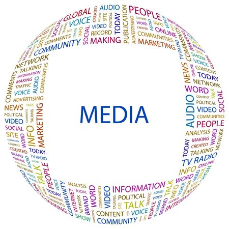 accessing: MEDIA. Word collage on white background.  illustration.