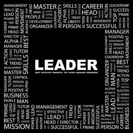 comandante: LEADER. Parola di collage su sfondo nero. illustrazione.
