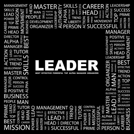 leiderschap: LEIDER. Word collage op een zwarte achtergrond. illustratie.