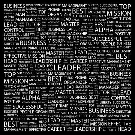 kingpin: LEADER. Word collage on black background.