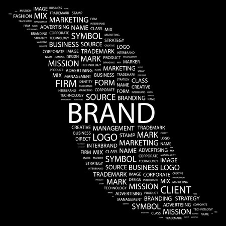 marketing mix: BRAND. Word collage on black background. illustration.