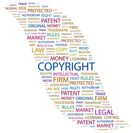COPYRIGHT. Word collage on white background. illustration.    Stock Vector - 7338013