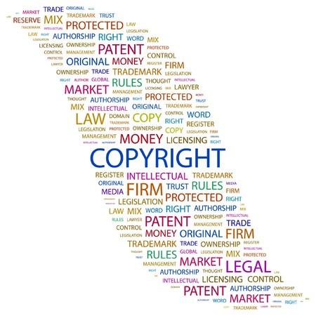 authorship: COPYRIGHT. Word collage on white background. illustration.    Illustration