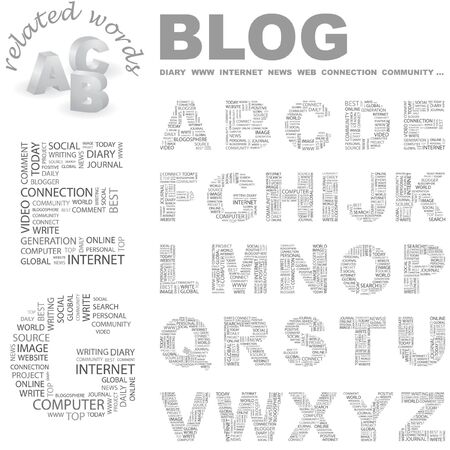 blogosphere: BLOG.  letter collection. Word cloud illustration.   Illustration