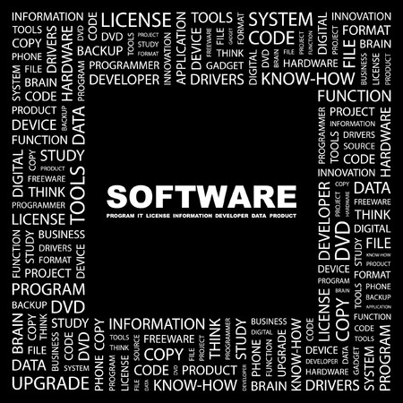 freeware: SOFTWARE. Word collage on black background. illustration.
