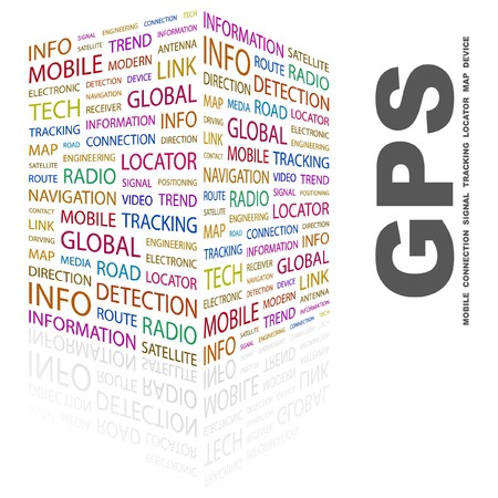 GPS. Word collage on white background. illustration.    Stock Vector - 7340180