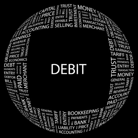 payable: D�BITO. Palabra collage sobre fondo negro. ilustraci�n.  Vectores