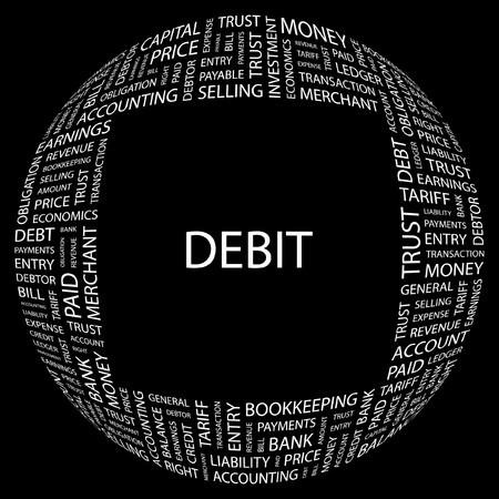 DEBIT. Word collage on black background.  illustration. Stock Vector - 7340135