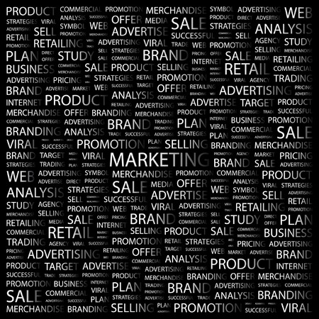 marketing mix: MARKETING. Word collage on black background  illustration.