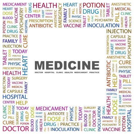 nursing associations: MEDICINE. Word collage on white background.  illustration.