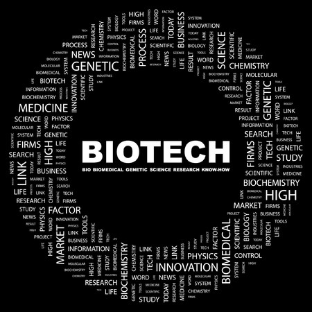 bioscience: BIOTECH. Word collage on black background. illustration.