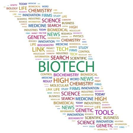 biomedical: BIOTECH. Parola di collage su sfondo bianco. illustrazione.  Vettoriali