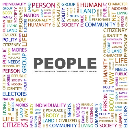 PEOPLE. Word collage on white background.  illustration. Imagens - 7338074