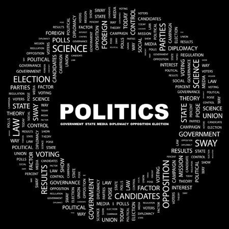 反対: 政治。黒の背景上のコラージュを単語します。イラスト。  イラスト・ベクター素材