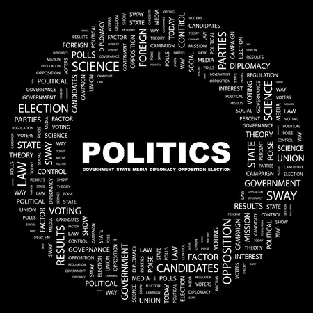 POLITIQUE. Mot collage sur fond noir. illustration.