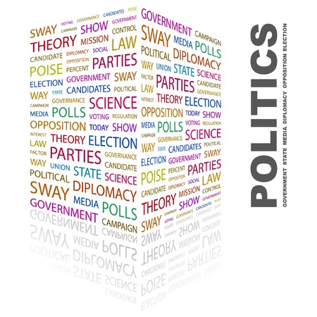 conflict theory: POLITICS. Word collage on white background. illustration.