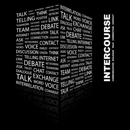 INTERCOURSE. Word collage on black background. illustration. Stock Vector - 7340350