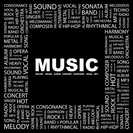 MUSIC. Word collage on black background.  illustration. Stock Vector - 7338116