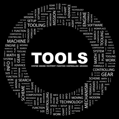 TOOLS. Word collage on black background.  illustration. Stock Vector - 7339790