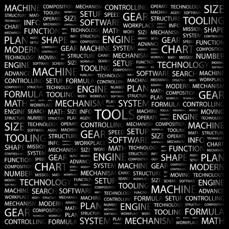 TOOLS. Word collage on black background.  illustration. Stock Vector - 7341326