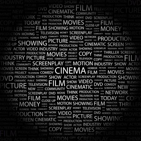 CINEMA. Word collage on black background. illustration.