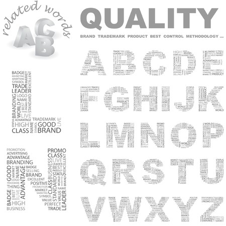 QUALITY.   letter collection. Word cloud illustration. Stock Vector - 7338740