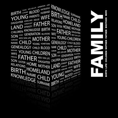 kindred: FAMILY. Word collage on black background.  illustration.    Illustration