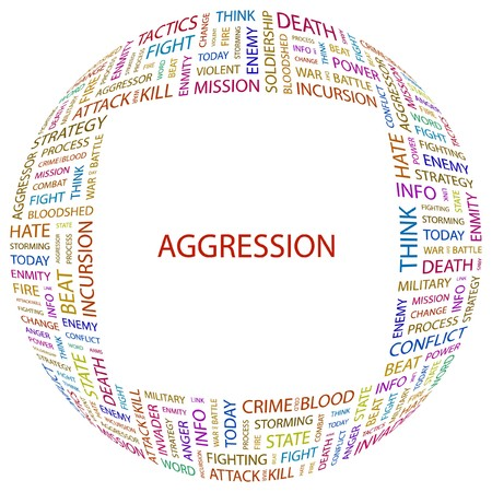 AGGRESSION. Word collage on white background illustration. Stock Vector - 7340366